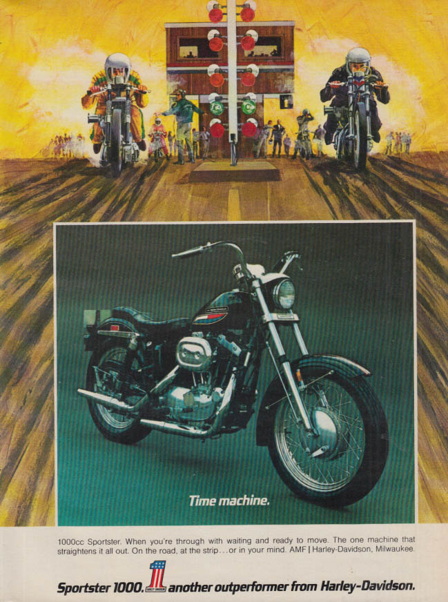 Image for Time machine Harley-Davidson 1000cc Sportster ad 1972 HR