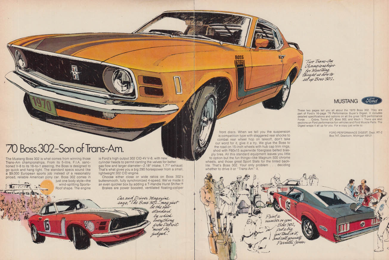 Son of Trans-Am - Ford Mustang Boss 302 ad 1970 R&T