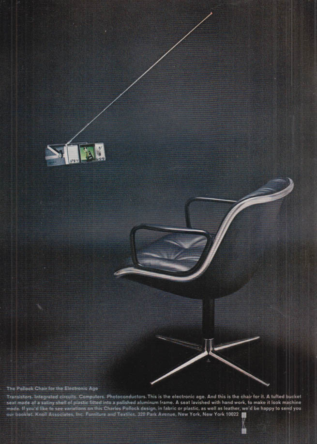 Image for The Pollock Chair for the Electronic Age by Knoll Associates ad 1968 NY