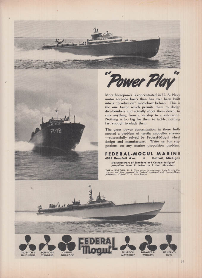 Power Play US Navy PT Torpedo Boats Federal Mogul ad 1942 PT-72