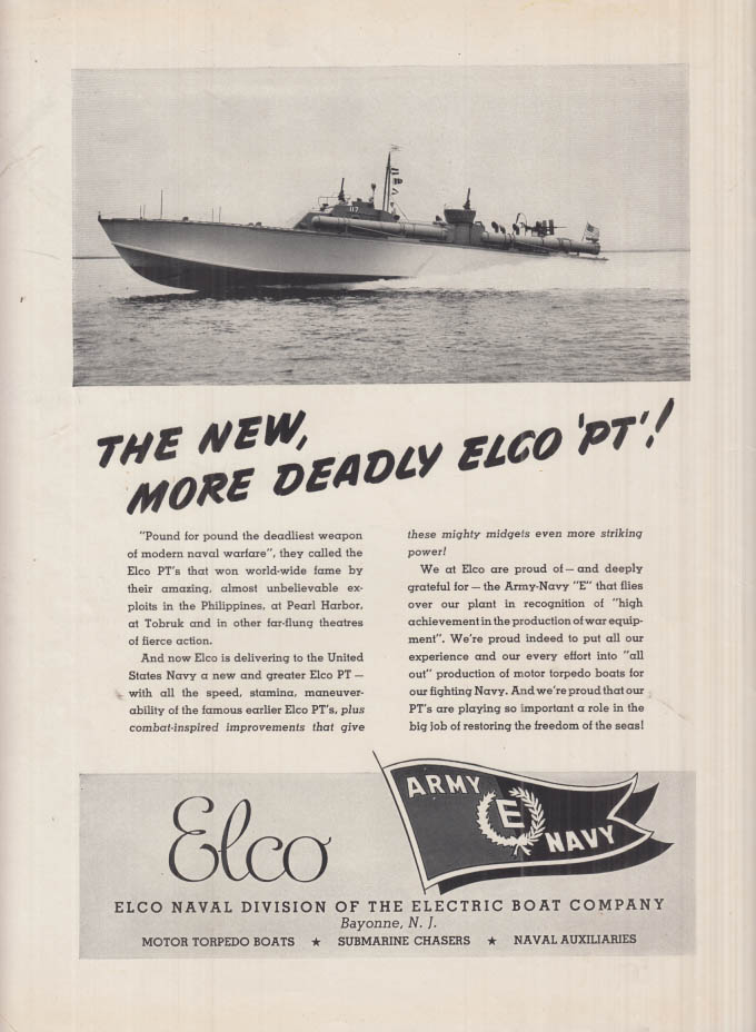 The New, More Deadly Electric Boat ELCO Naval Division PT Boat ad 1942