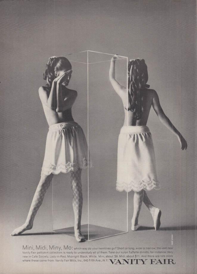 Mini Midi Miny Mo Vanity Fair pettiskirts ad 1968 NY topless