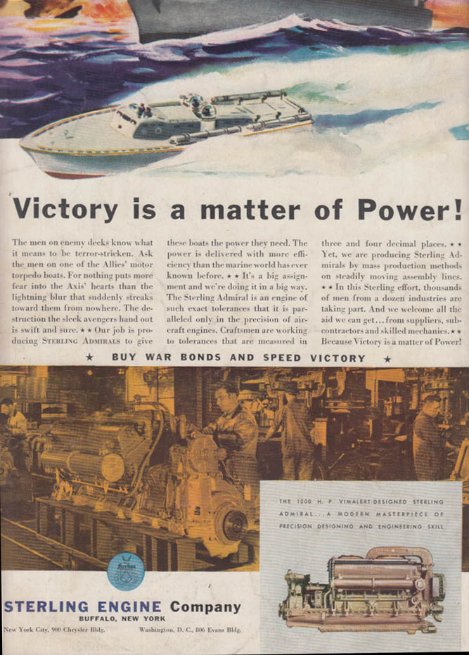 Victory is a matter of Power! Sterling Admiral Engines for Navy PT Boats ad 1942