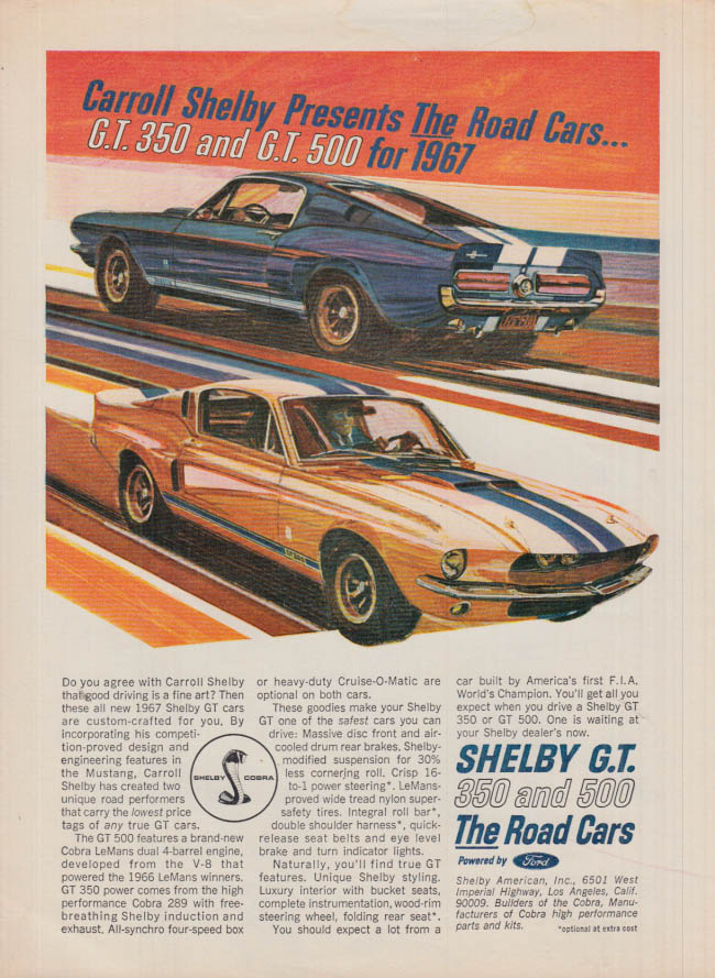 Image for Carroll Shelby presents the road cars Shelby GT 350 & GT 500 ad 1967 SI