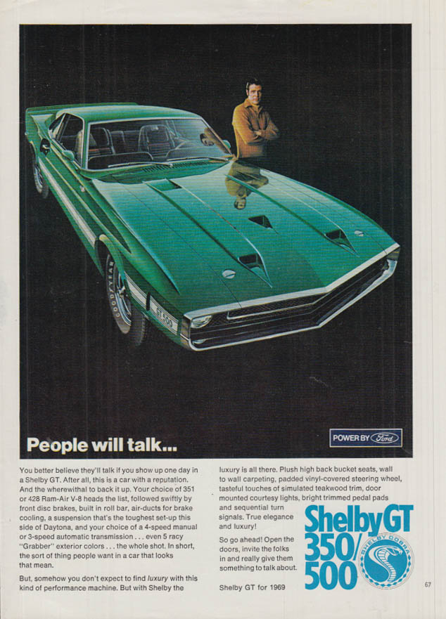 Image for People will talk Shelby GT 350 GT 500 ad 1969 Pby