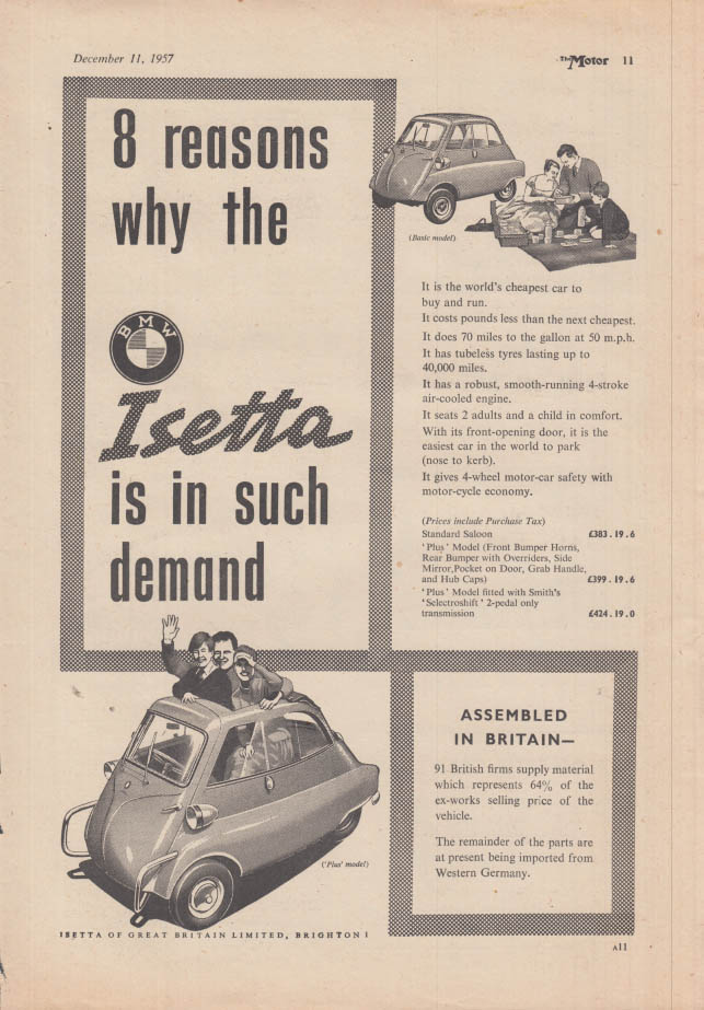 8 reasons why the BMW Isetta is in such demand ad 1959 1958