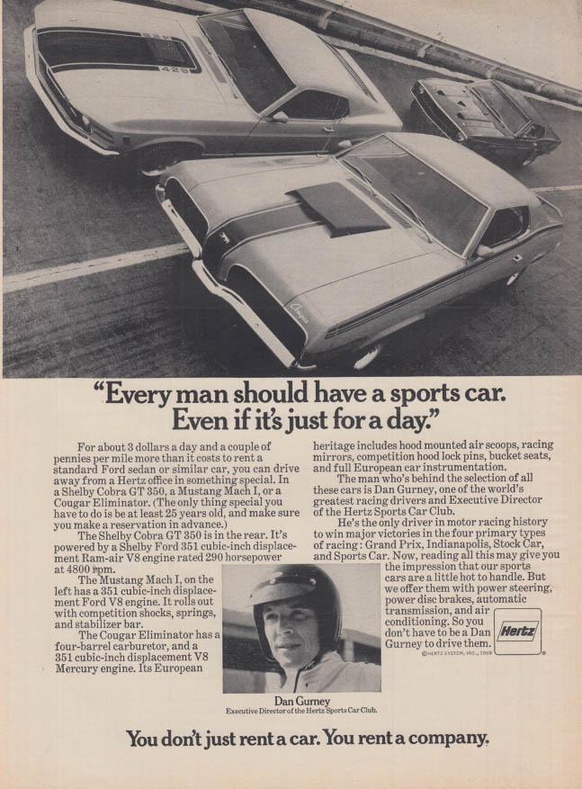 Dan Gurney Shelby 350 GT Mustang Mach I Cougar Eliminator Hertz ad 1969 SI