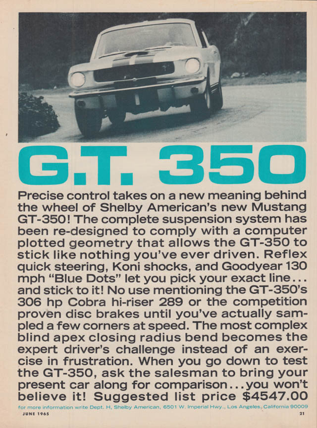 Image for Precise control takes on new meaning Shelby GT 350 ad 1965 HR
