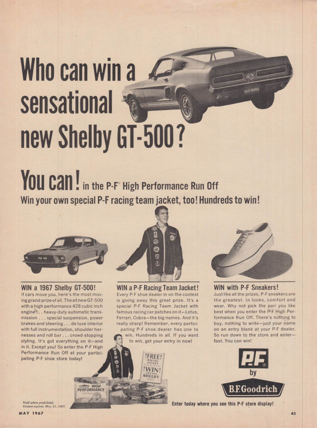 Image for Who can win a sensational new Shelby GT-500? PF Sneakers ad 1967 HR