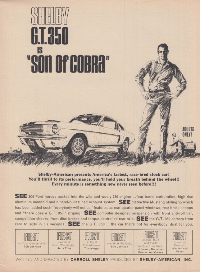 Image for Shelby GT 350 is Son of Cobra - Adults Only! ad 1966 var