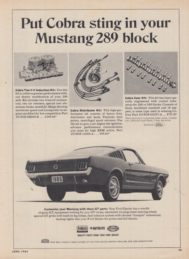 Image for Put Cobra sting in your Mustang 289 Fastback block ad 1965 HR