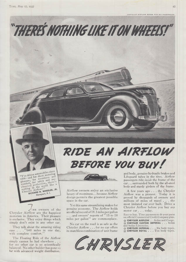 Image for There's nothing like it on wheels! Chrysler Airflow ad 1937 T