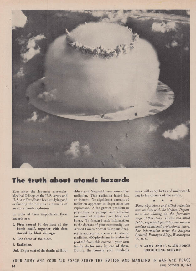 Image for The truth about atomic hazards US Army & Air Force ad 1948 T atom bomb
