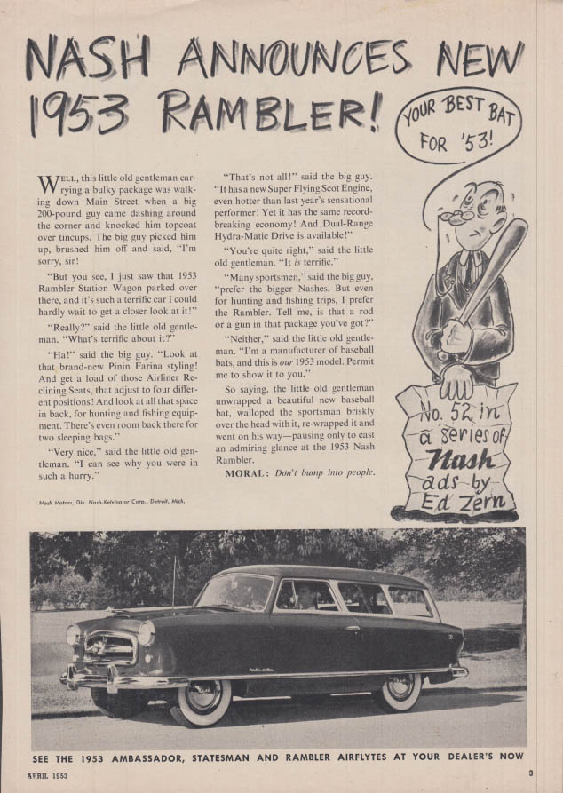 Image for Nash announces New Rambler Station Wagon Ed Zern ad 1953 TR