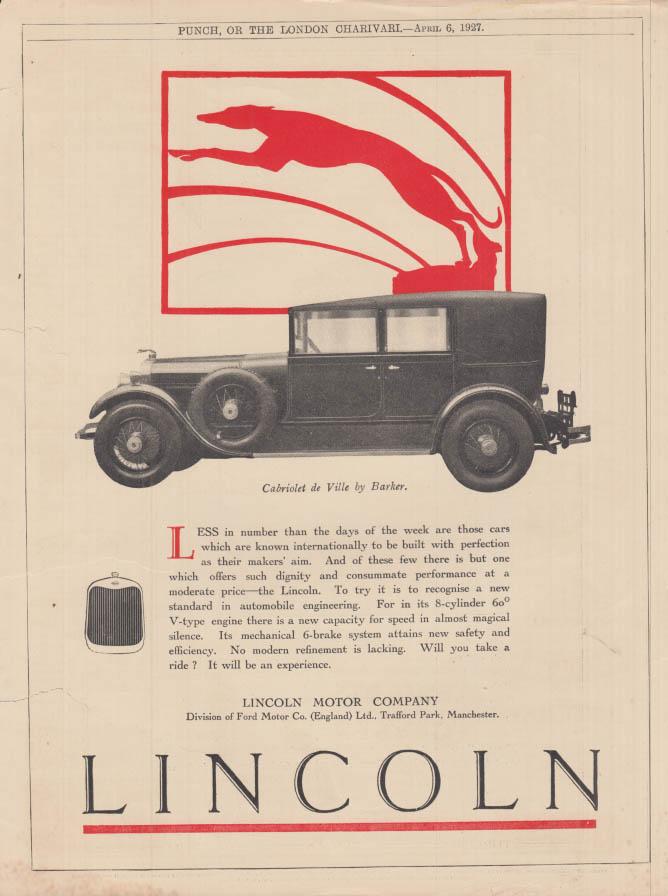 Image for Less in number - Lincoln Cabriolet de Ville by Barker ad 1927 UK