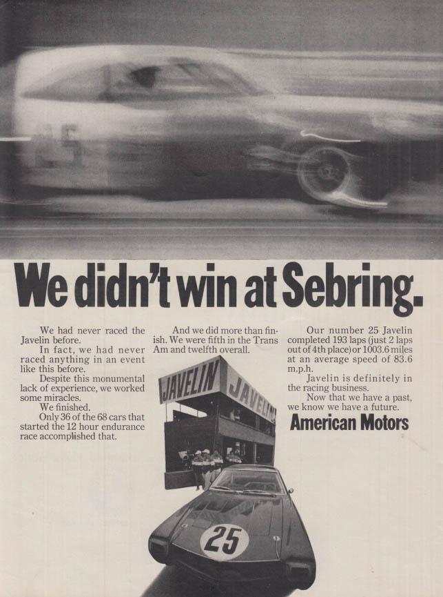 Image for We didn't win at Sebring - American Motors AMC Javelin ad 1968 MT