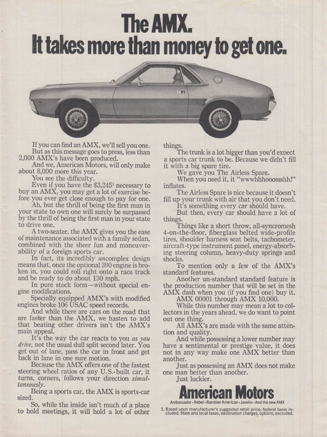 Image for The American Motors AMC AMX: It takes more than money to get one ad 1968