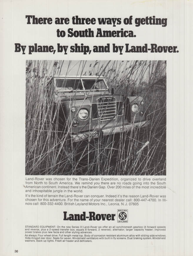 3 ways to get to South America: plane, ship & Land-Rover ad 1973