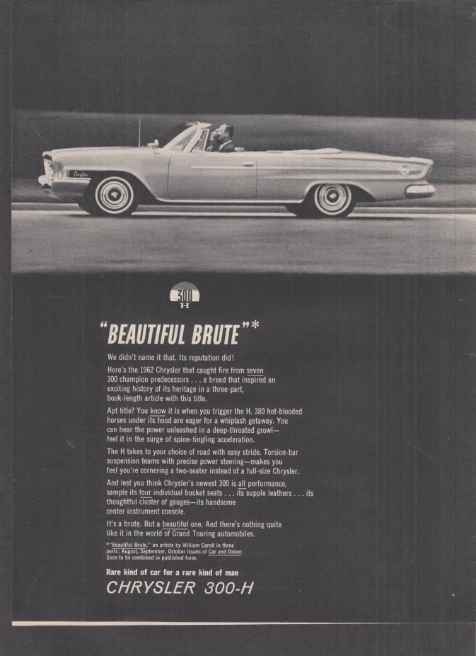 Image for Beautiful Brute - Chrysler 300-H Convertible ad 1962 R&T