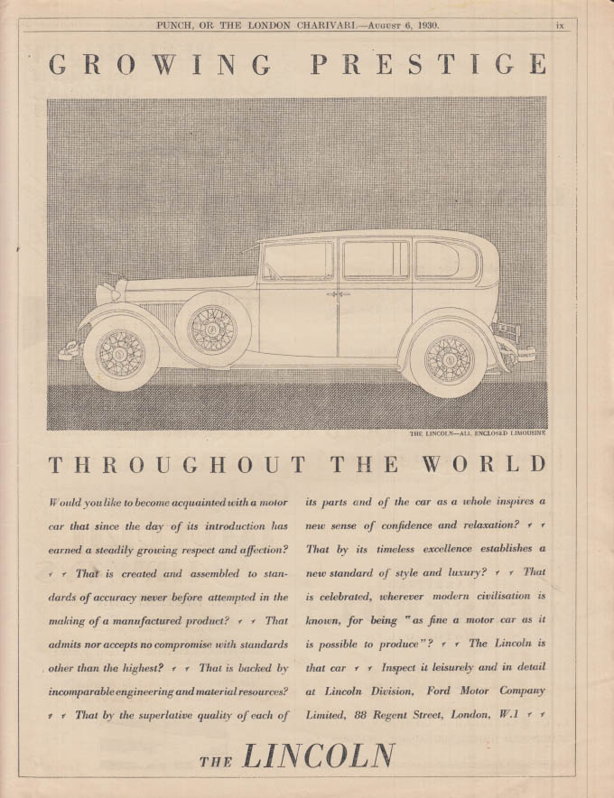 Image for Growing Prestige Throughout the World - Lincoln Limousine ad 1930 Punch UK