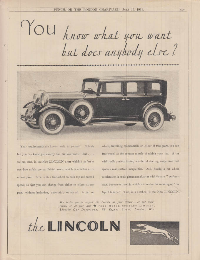 Image for You know what you want but does anybody else? Lincoln ad 1931 Punch UK