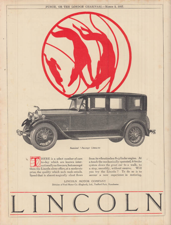 Image for A select number known internationally as fine cars Lincoln Limousine ad 1927 UK