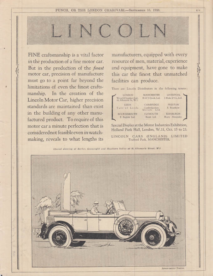 Image for Fine craftsmanship is a vital factor Lincoln Dual Cowl Touring ad 1926 Punch UK
