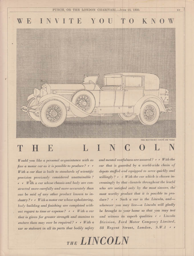 Image for We Invite You to Know the Lincoln Maythorn Coupe de Ville ad 1930 Punch UK