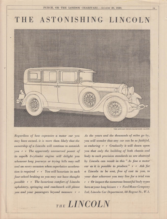 Image for The Astonishing Lincoln Seven-Passenger Saloon ad 1930 Punch UK