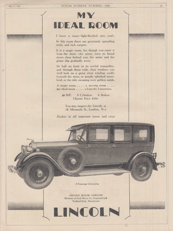 Image for My Ideal Room - The Lincoln Seven-Passenger Limousine ad 1928 Punch UK