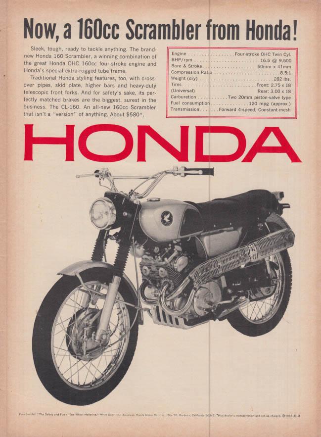 Image for Now a 160cc Scrambler Motorcycle from Honda ad 1966 R&T