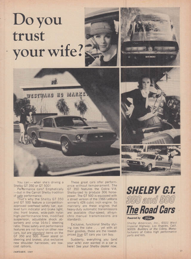 Image for Do you trust your wife? Shelby GT 350 & 500 ad 1967 C&D