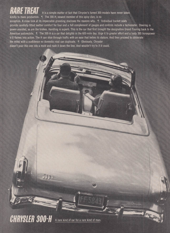 Image for Rare Treat - never taken to mass production Chrysler 300-H Convertible ad 1962