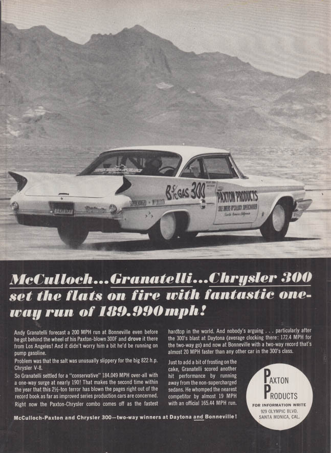 Image for McCulloch - Granatelli - 1960 Chrysler 300-F Bonneville at 189.990mph ad 1962