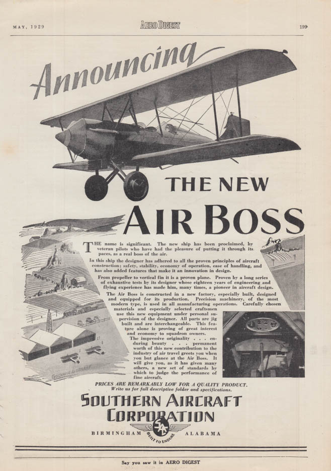 Announcing the New Southern Aircraft Air Boxx Biplane ad 1929