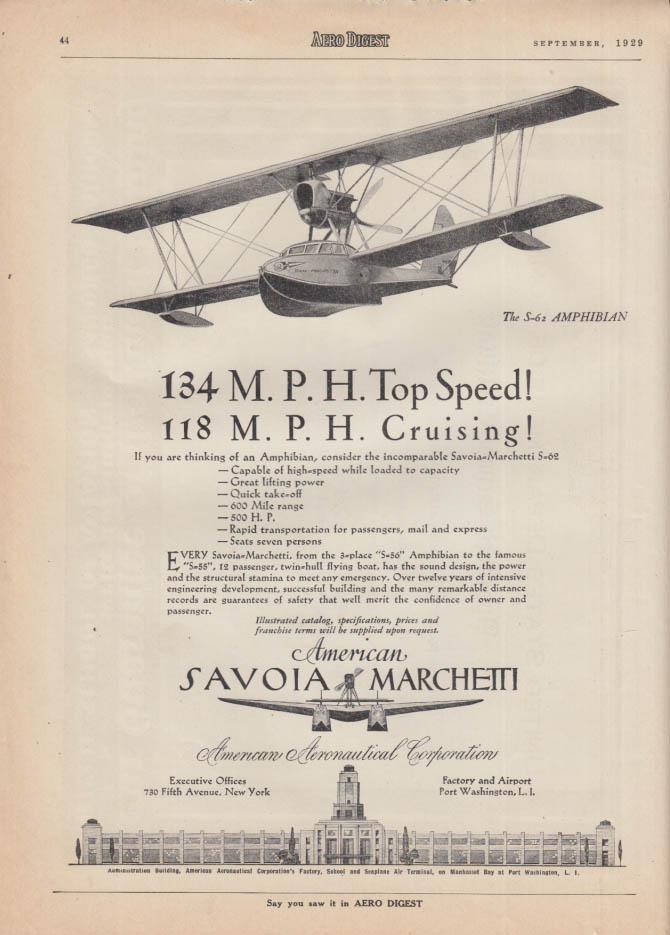 134 MPH Top Speed! American Savoia Marchetti S-62 Amphibian ad 1929