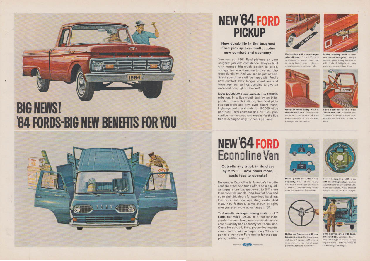 Big News! Ford Pickup & Ford Econoline Van ad 1964