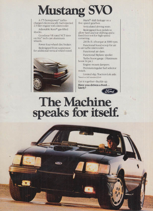 Image for The Machine speaks for itself Ford Mustang SVO ad 1984 C&D