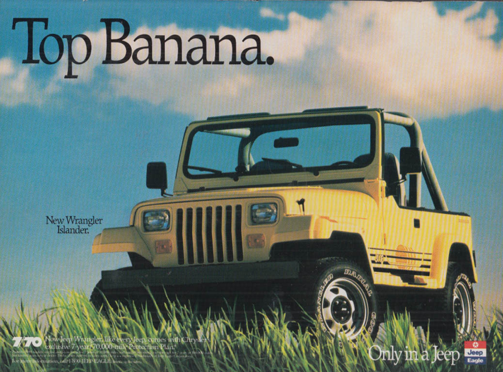 Image for Top Banana. Jeep Wrangler Islander ad 1989 R&T