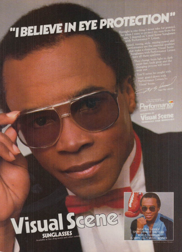Image for I believe in eye protection Sugar Ray Leonard Visual Scene Sunglasses ad 1983