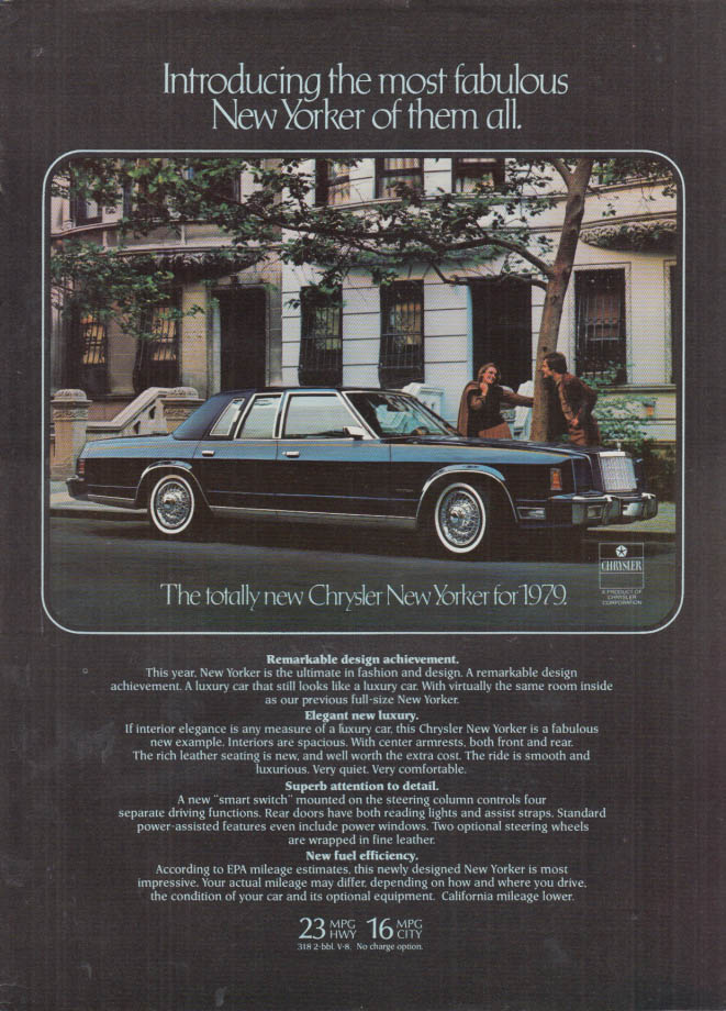 Image for Most fabulous of them all Chrysler New Yorker ad 1979 NY