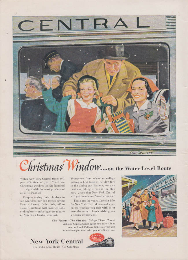 Image for Christmas Window on the Water Level Route New York Central ad 1953 T&T