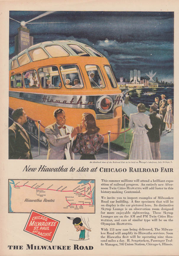 Image for New Hiawatha to star at Chicago Railroad Fair Milwaukee Road ad 1948 T