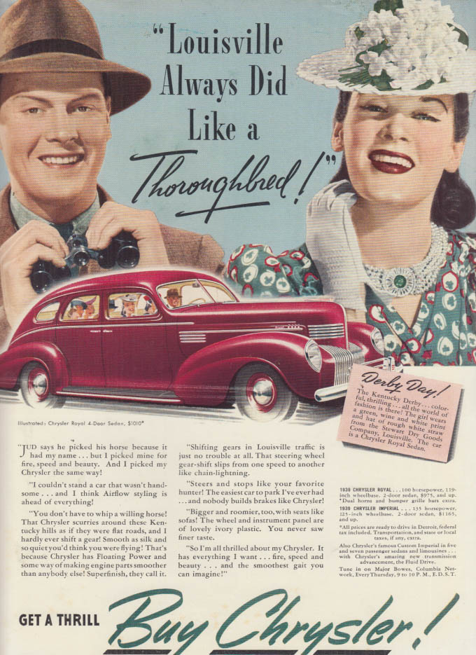 Image for Louisville Always Did Like a Thoroughbred! Chrysler Royal Sedan ad 1939 NY