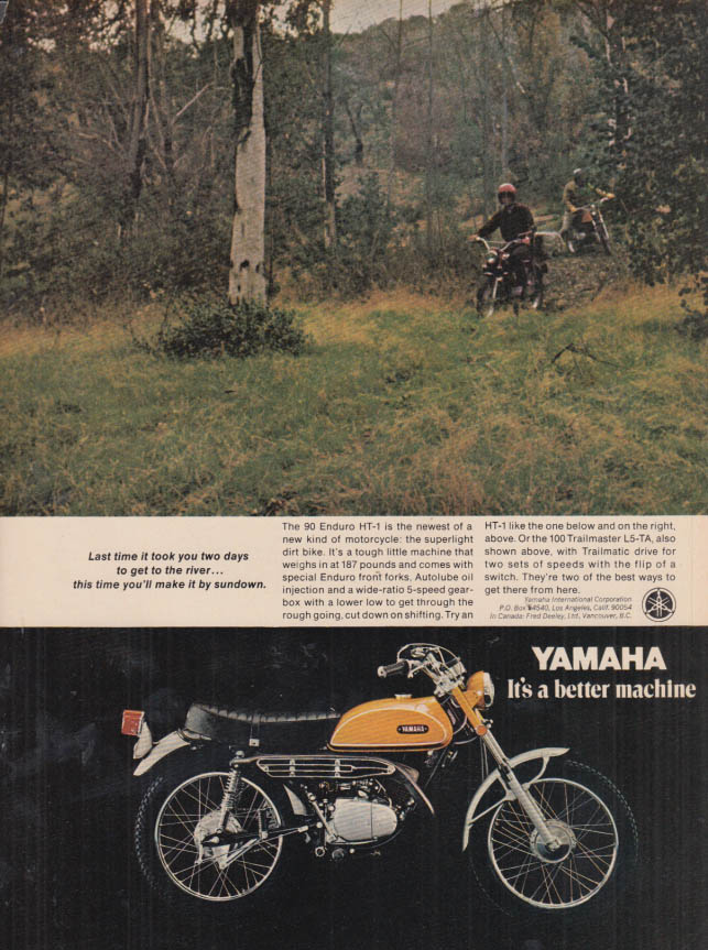 Image for Last time it took you two days Yamaha 90 Enduro HT-1 Mototcycle ad 1970 MT