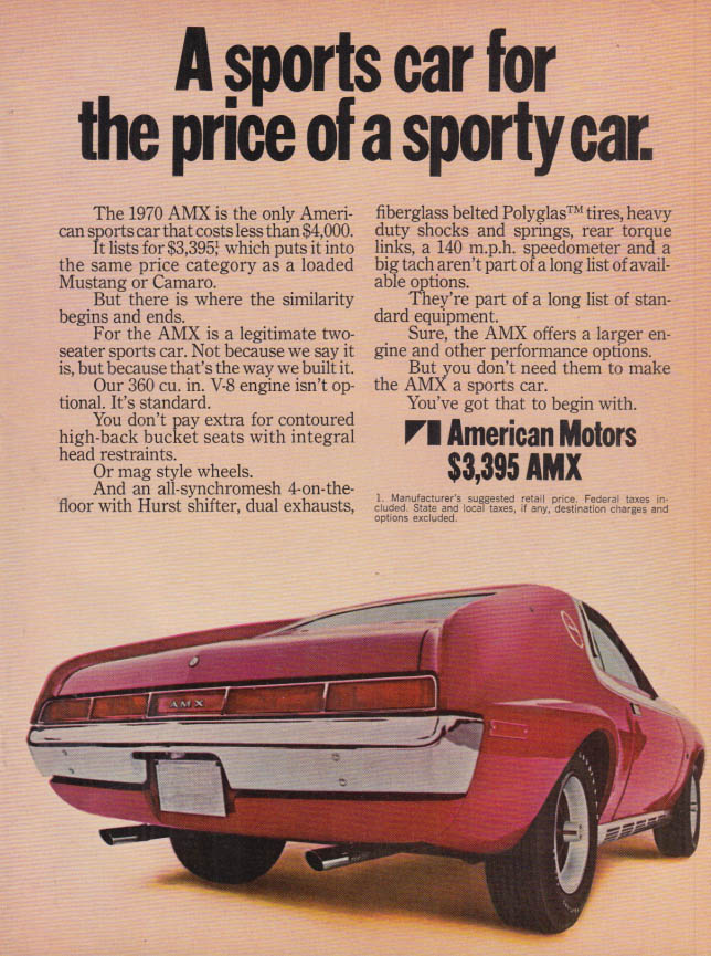 Image for A sports car for the price of a sporty car, AMC AMX ad MT
