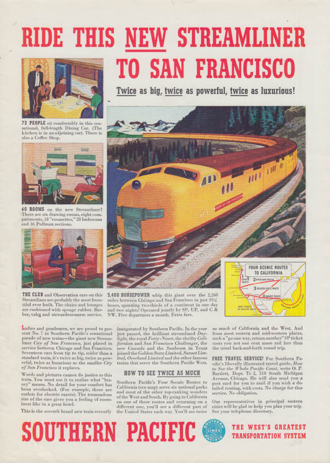 Image for Ride the new Southern Pacific Railroad City of San Francisco streamliner ad 1938