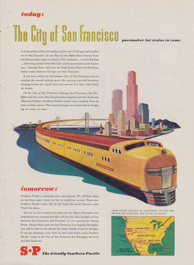 Image for Pacemaker for trains to come Southern Pacific The City of San Francisco ad 1946
