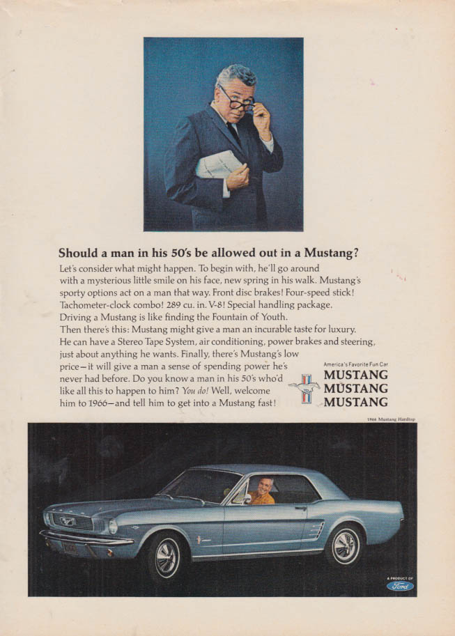 Image for Should a man in his 50s be allowed out in a Ford Mustang? ad 1966 NY