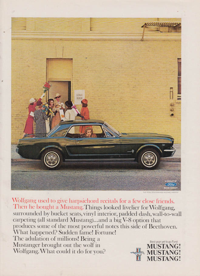 Image for Wolfgang used to give harpsichord recitals Ford Mustang ad 1965 NY